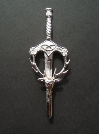 Claymore Stag Sword Kilt Pin