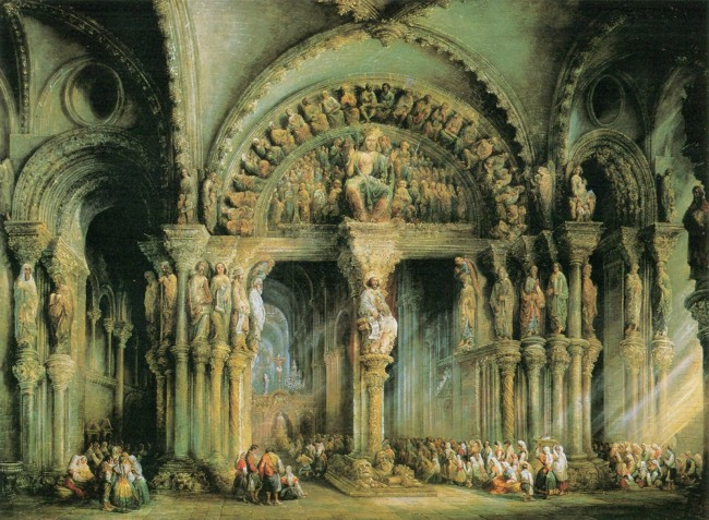 Santiago Cathedral, Painting by Villaamil, 1849